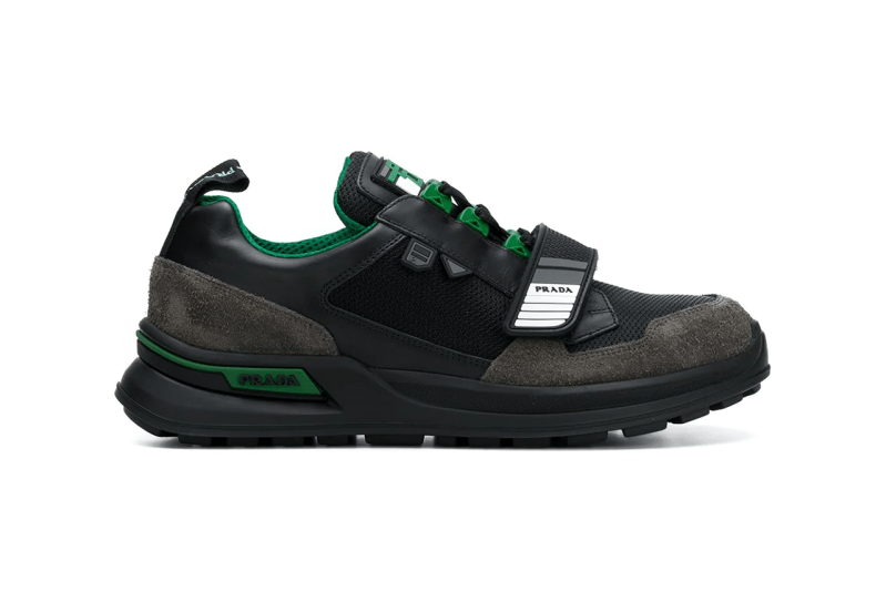prada fall winter 2018 technical chunky strap sneaker blue green black white colorway drop release buy sell purchase mens