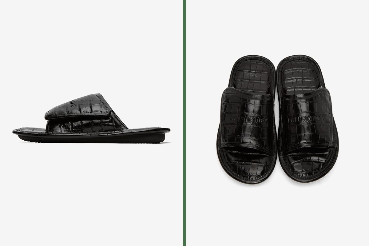 Balenciaga Black Croc Slides | HYPEBEAST