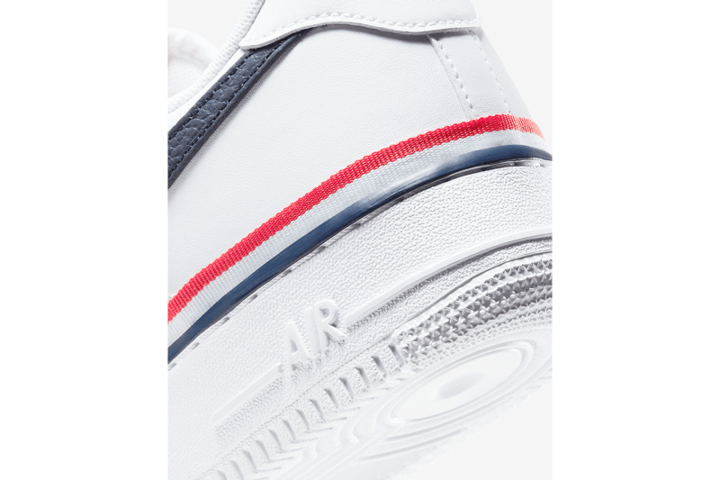 """Nike Air Force 1 '07 LV8 """"White/Habanero Red/Obsidian"""" Preppy Three Colored Tricolor Stripe Release Information Drop Date Swoosh AF1 White Sneakers Summer Kicks Ribbon Webbing Leather CJ1377-100"""