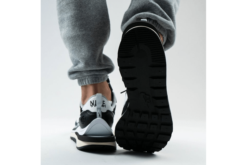 sacai Nike Pegasus Vaporwaffle SP Black Summit White Pure Platinum CV1363-001 Sneaker Release Information First Look On Foot Hype Heat Collaboration Chitose Abe