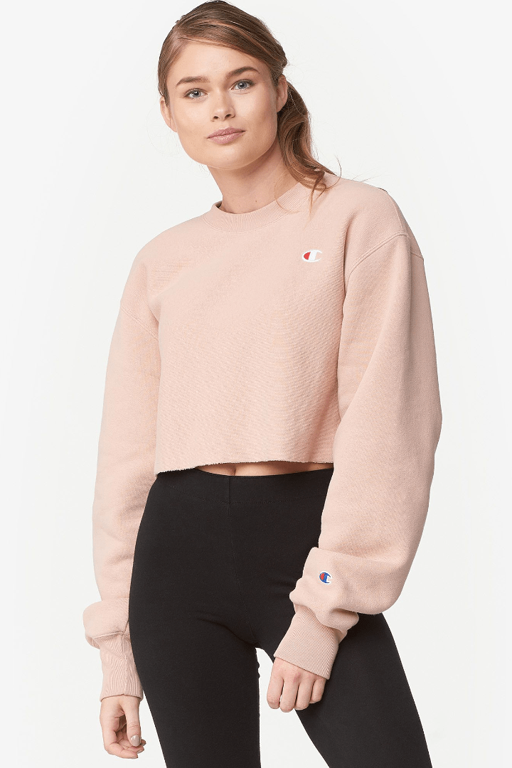 Champion Cropped Crew Sweater Pink
