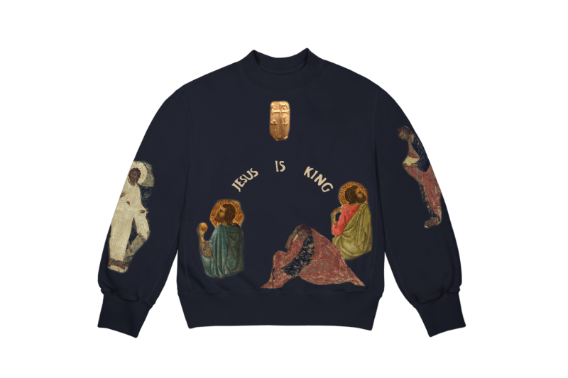 Kanye West Jesus Is King Merch AWGE Cross Crewneck II Black