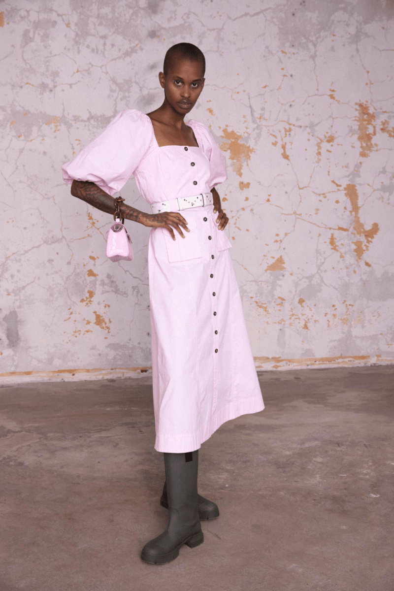 GANNI Pre-Fall 2020 Collection Lookbook Square Neck Prairie Dress Pink