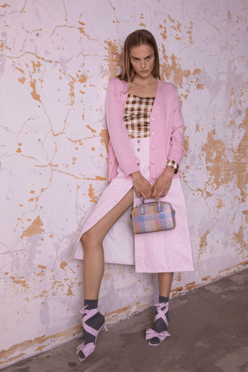 GANNI Pre-Fall 2020 Collection Lookbook Cardigan Skirt Pink Top Gingham