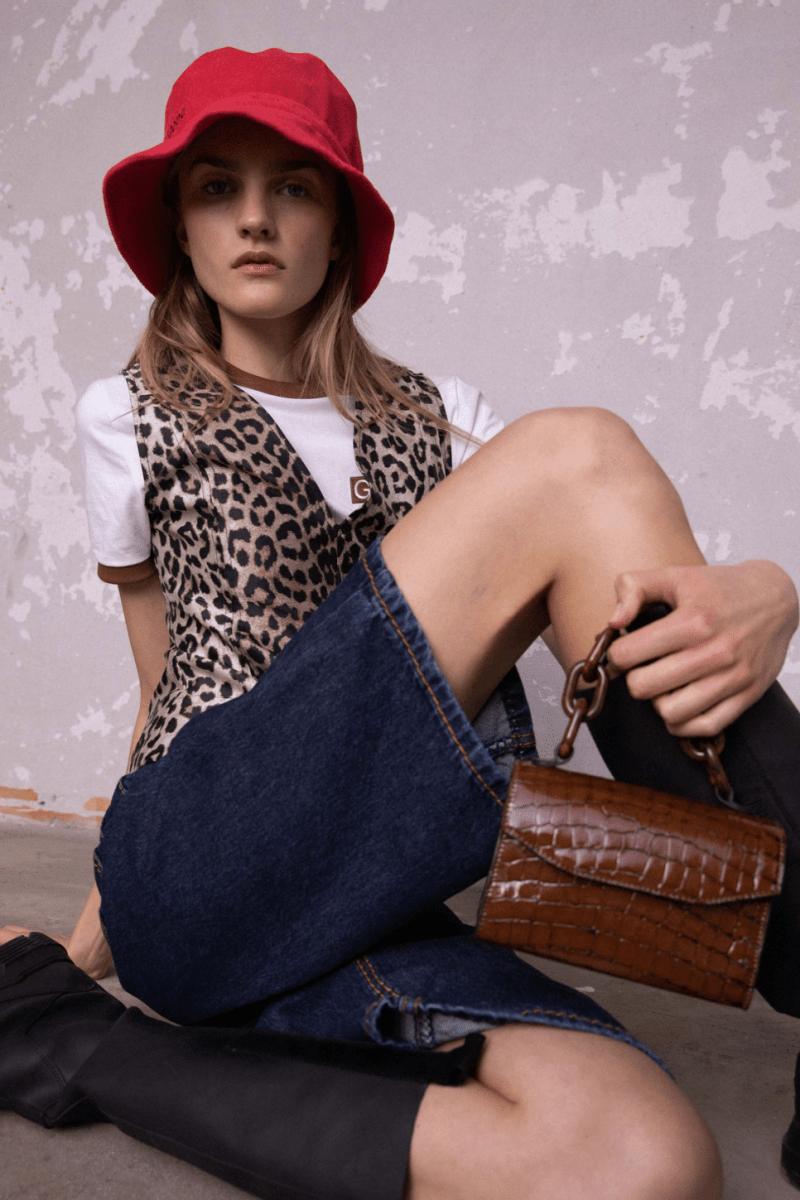 GANNI Pre-Fall 2020 Collection Lookbook Vest Leopard Bucket Hat Red