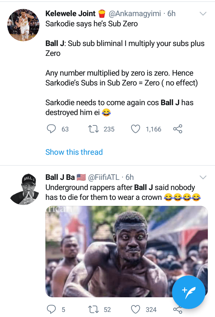 Twitter reactions on Ball J diss track against Sarkodie