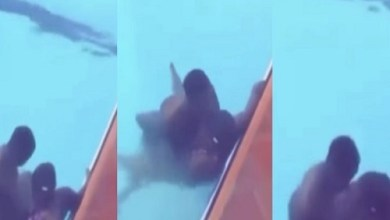 Young Couple Caught Busily chopping Themselves In A Pool
