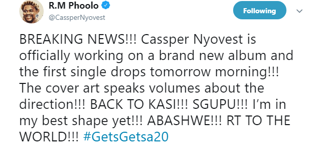 cassper nyovest New Cassper Nyovest Album On The Way. New #GetsGetsa20 Single Drops Tomorrow c 1