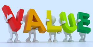 letter collage that spells 'VALUE'