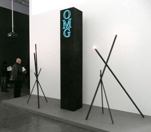 """AIDS-3D, """"OMG Obelisk"""" (2007) installated at the Younger Than Jesus show (via Artnet)"""