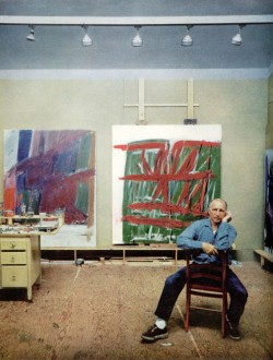 """Jack Tworkov in his Provincetown studio. Photo by © Arnold Newman, for an article written by Robert Hatch, """"At The Tip Of Cape Cod,"""" July 1961 issue of Horizon. Via the Provincetown Artist Registry.  (click to enlarge)"""