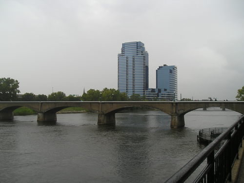Grand Rapids' Grand River and another bridge