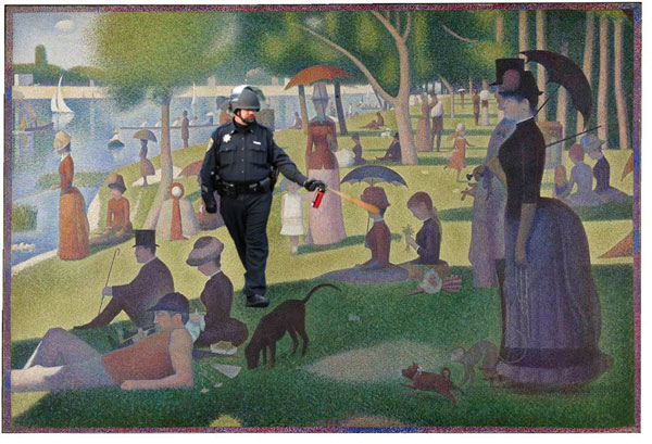 """The Casually Pepper Spraying Everything Cop takes a walk through Georges Seurat's """"Sunday Afternoon on the Island of La Grand Jatte"""""""