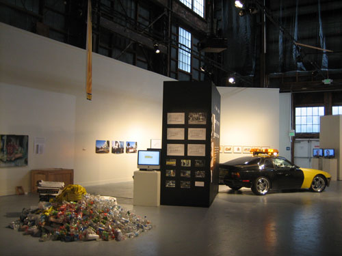 "In the left corner is Critical Art Ensemble's ""Seized,"" 2008, mixed media installation. (photo by author)"