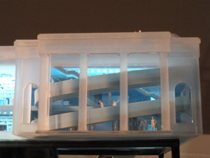 Close-up of the architectural model for the institute