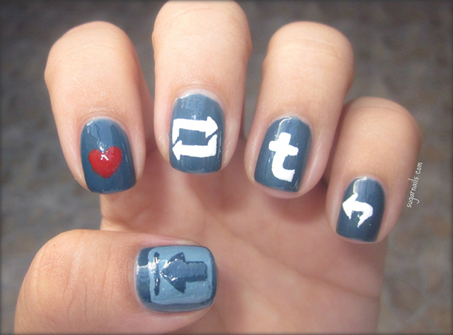 Nail art of various Tumblr icons: the Like heart, the Reblog button, the t logo, etc.