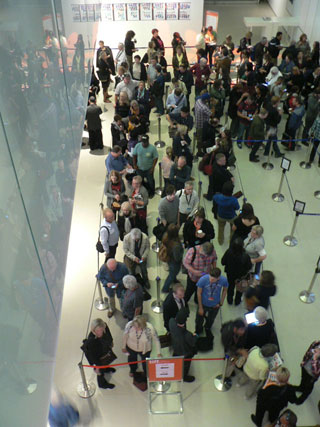 Crowds lined up for a TIFF screening at the Bell Lightbox theater