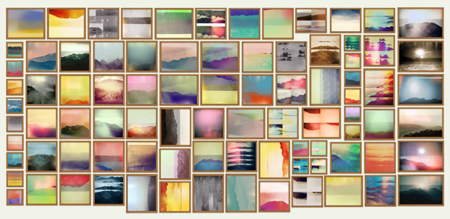 """Penelope Umbrico, Mock-up for exhibition installation of """"Moving Mountains (1850–2012)"""""""