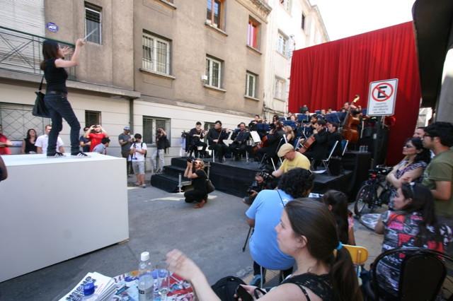 A passerby conducting Sebastian Errazuriz's orchestra