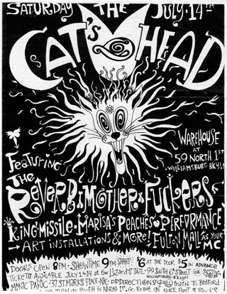 Poster by Velveeta Heartbreak for the first Cat's Head event, July 14, 1990 (click to enlarge) (all images via Immersionism archive on Facebook)