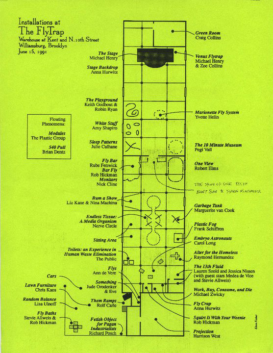 Diagram by Ebon Fisher of the warehouse at N. 10th and Kent Avenue, showing the layout for Flytrap, June 15, 1991