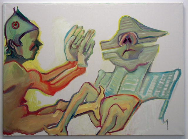 """Maria Lassnig, """"Fraternite"""" (2008). Oil on canvas, 59.06 x 78.74 inches. (All images by the author for Hyperallergic.)"""