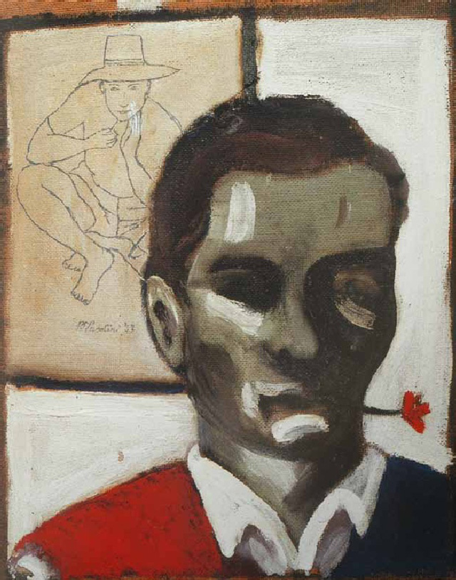 """Pier Paolo Pasolini, """"Self-Portrait with a Flower in His Mouth"""" (1947). Oil on hardboard, 16.73 x 13.58 x .78 inches."""