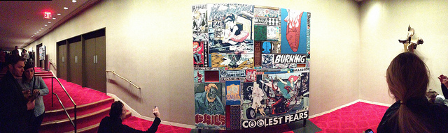 A view of one of FAILE's panels in the wings of the lower lobby. (click to enlarge)