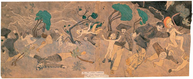 """Henry Darger, """"18 At Norma Catherine. But wild thunderstorm with cyclone like wind saves them."""" (mid-20th century), watercolor, pencil, colored pencil, and carbon tracing on pieced paper, double-sided, 19 1/8 x 47 3/4 in. (image via American Folk Art Museum)"""