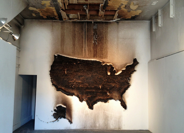 "Claire Fontaine, ""America (Burnt/Unburnt)"" — but definitely burnt. (image via Flickr/Telstar Logistics)"