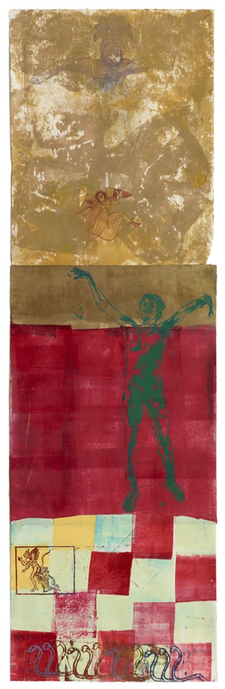 "Nancy Spero, ""The Underworld"", (1997) Handprinting and printed collage on paper 63 x 19 inches (160 x 48.3 cm) All Images Courtesy of The Estate of Nancy Spero Courtesy Galerie Lelong, New York"