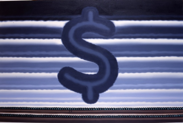 Roger Brown, Landscape with Dollar Sign, 1991. Oil on canvas, 48 x 72 inches.