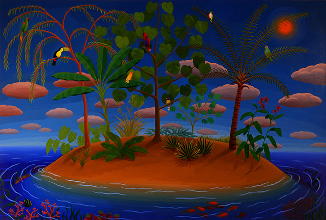 """Amy Lincoln, """"Bird Island"""" (2012), acrylic on panel, 25 x 37 inches (all images courtesy the artist)"""