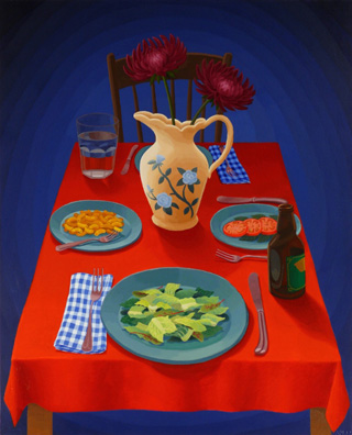 """Amy Lincoln, """"Dinner Table"""" (2012), acrylic on mdf, 24.5 x 19.75 inches (click to enlarge)"""