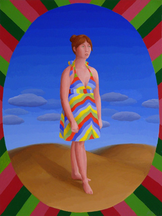 """Amy Lincoln, """"Girl in Stripes"""" (2011), acrylic on mdf, 13 x 10 inches"""