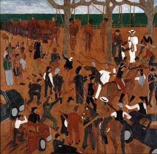 """Winfred Rembert, """"The Lynching"""" (1999), panel 1 of 3, dye on carved and tooled leather, each panel: 35 x 33 in (click to enlarge) (image via hrm.org)"""