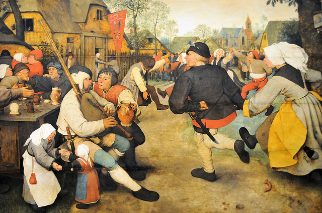 "Pieter Bruegel the Elder, ""Peasant Dance"" (1568) (via flickr.com/mbell1975)"