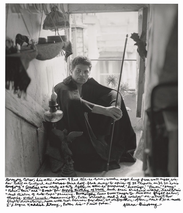 """Allen Ginsberg, """"Gregory Corso, his attic room 9 Rue Gît-le-Coeur, wooden angel hung from wall right, window looked on courtyard and across Seine half-block away to spires of St. Chapelle on Ile St. Louis. Gregory's Gasoline was ready at City Lights, in attic he prepared 'Marriage,' 'Power,' 'Army,' 'Police,' 'Hair' and 'Bomb' for Happy Birthday of Death book. Henri Michaux visited, liked Corso's 'mad children of soda-caps' phrasing. Burroughs came from Tangier to live one flight below, shaping Naked Lunch manuscript, Peter Orlovsky and I had window on street two flights downstairs, room with two-burner gas stove, we ate together often, rent $30 a month. I'd begun Kaddish litany, Peter his 'Frist Poem.'"""" (1956), gelatin silver print, printed 1984–97, 14 x 14 in. National Gallery of Art, Gift of Gary S. Davis (© 2012 Allen Ginsberg LLC, all rights reserved)"""
