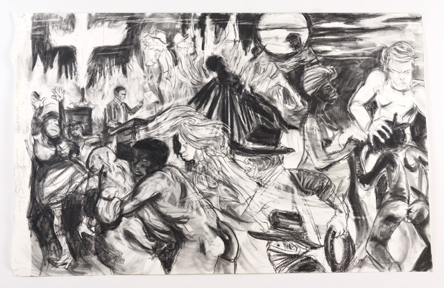 """Kara Walker, """"The moral arc of history ideally bends towards justice but just as soon as not curves back around toward barbarism, sadism, and unrestrained chaos"""" (2010), graphite and pastel on paper, 72 x 114 inches (© Kara Walker / image courtesy Sikkema Jenkins & Co.)"""