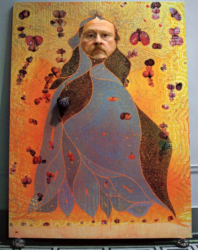 "Lhota really getting into Chris Ofili's ""The Holy Virgin Mary"" (1996)"