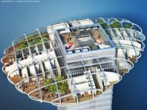 Detail of a farmscraper unit (Image courtesy Vincent Callebaut Architects)
