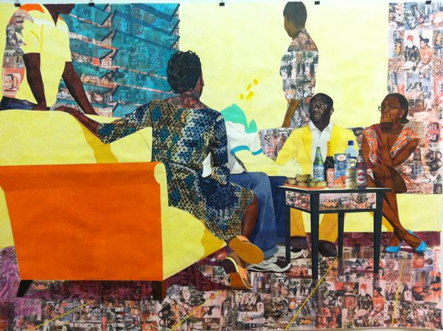 A work by Njideka Akunyili at ISCP open studios
