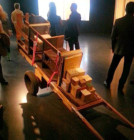 """Installation view in the video room of Theaster Gates's """"13th Ballad"""""""