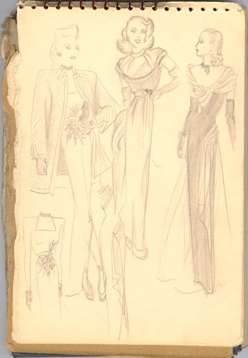 A page from Bill Blass's sketchbook during the war