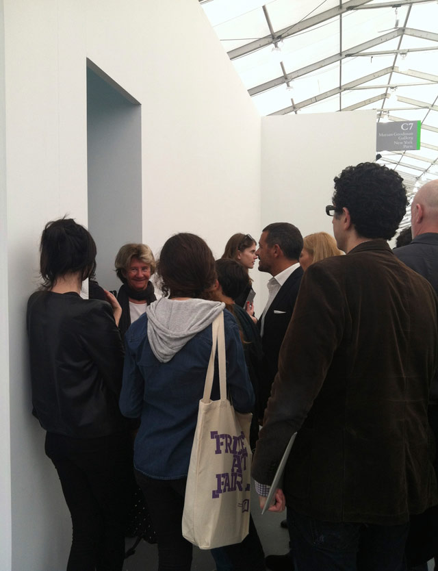 The crowd waiting to get in to see Tino Sehgal's work at Marian Goodman