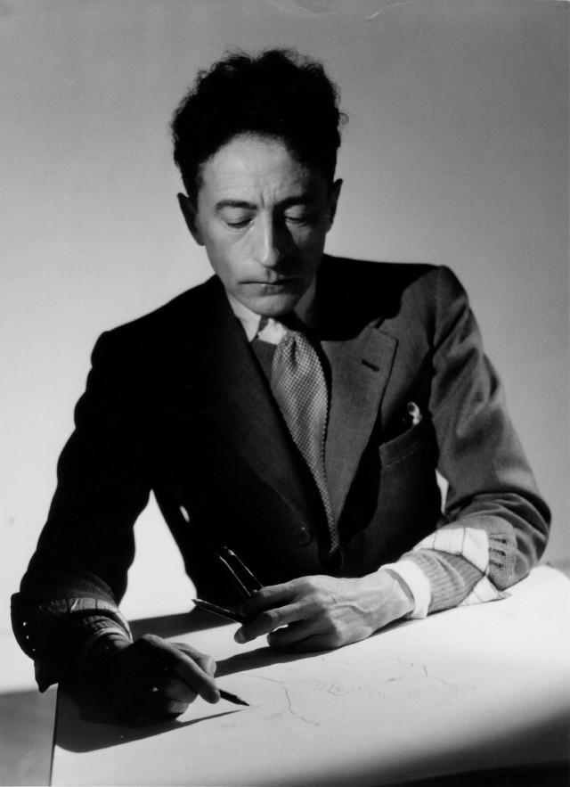 """Raymond Voinquel, """"Jean Cocteau drawing"""" (1942), photograph (vintage silver print), 13 x 18 cm"""