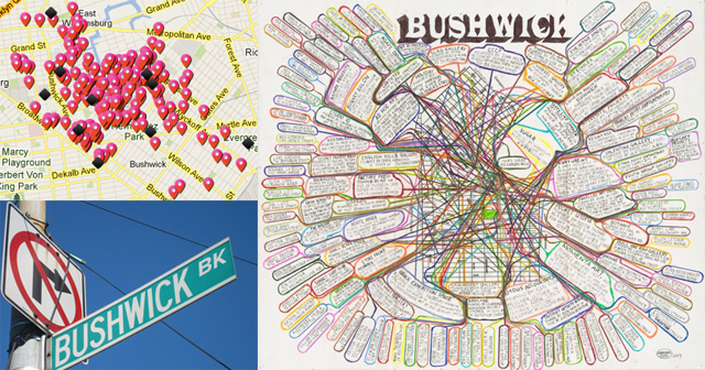 Clockwise from top left: A view of the 600+ locales on the BOS 2013 map, a Bushwick benefit print by Loren Munk for Arts in Bushwick, and just in case you didn't know where you were.