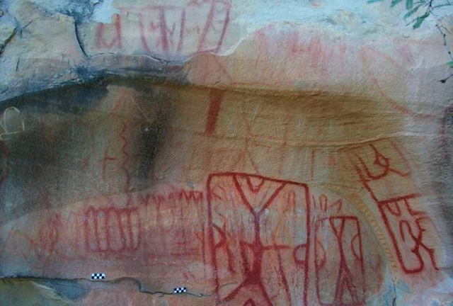 Newly discovered cave paintings in the Sierra de San Carlos (all images via inah.gob.mx)
