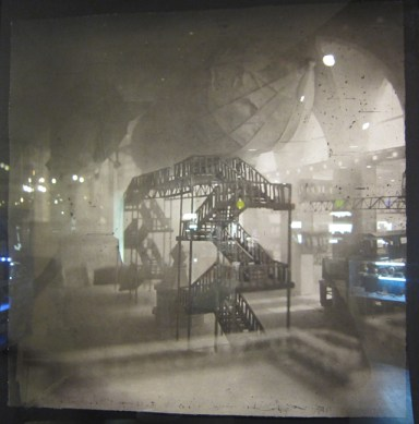 "Lothar Osterberg, ""Zeppelins Docking in Grand Central"" (2013), photogravure and chine collé"