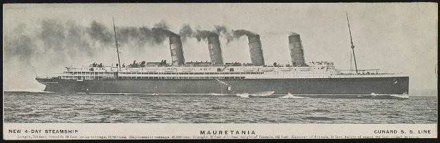 Mauretania Date Created/Published: [1908]. Medium: 1 print (postcard). Summary: Postcard shows panoramic view of the steamship Mauretania.